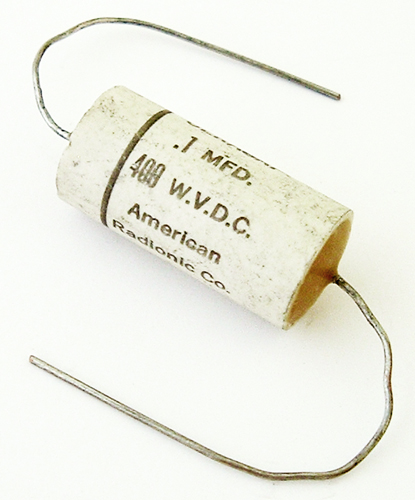 0.1uF 400V Vintage Ceracap Axial Metalized Paper Capacitor American Radionic