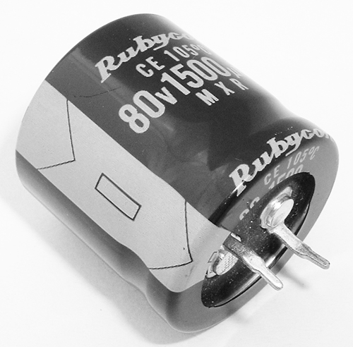 1500uF 80V Radial Snap in Electrolytic Capacitor Rubycon 80MXR1500M