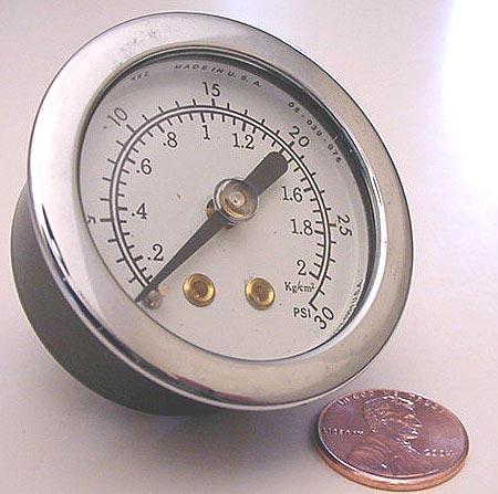 Center Back Mount Pressure Gauge  30 PSI  1 1/2 Dial