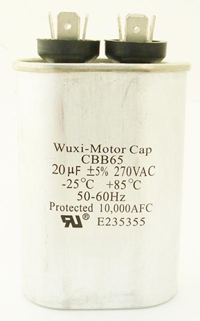 20uF 270VAC Motor Run Capacitor Wuxi Motor CBB65-270V206