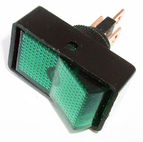Rocker Switch 20A 12V Green Lighted Auto