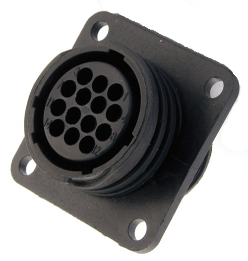 182461-1 14 Position Square Flange Circular Connector Receptacle Amp