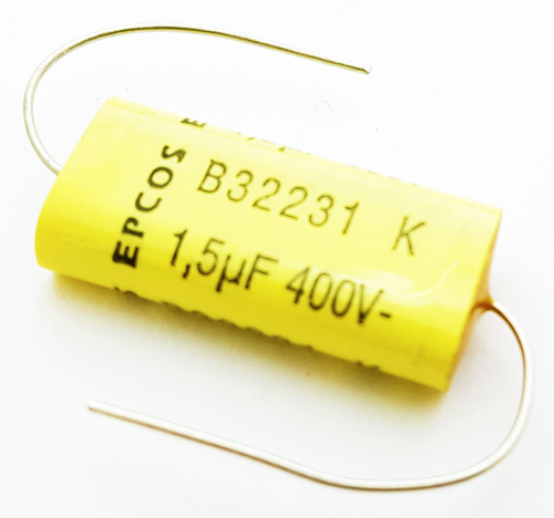 1.5uF 400VDC Axial Metallized Polyester Film Capacitor Epcos