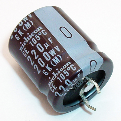 220uF 200V Snap In Electrolytic Capacitor Nichicon LGK2D221MHSZ