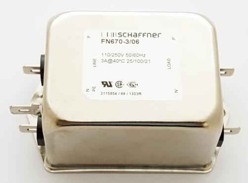 FN670-3/06 3A 250VAC 2-Stage Power Line Filter Schaffner