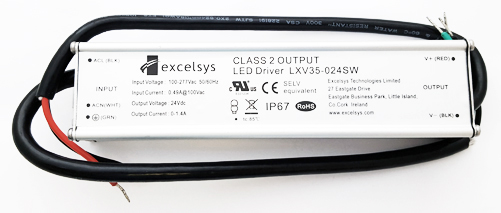 LXV35-024SW 24V 90-305VAC 35W Constant Voltage LED Power Supply Excelsys