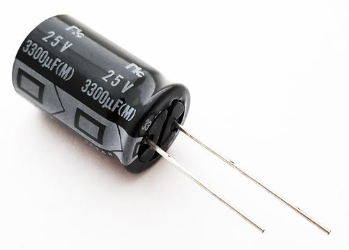 3300uF 25V Radial Electrolytic Capacitor NIC NRSS332M25V16X25F