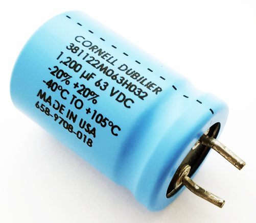1200uF 63V Radial Electrolytic Snap In Capacitor CDE 381122M063H032