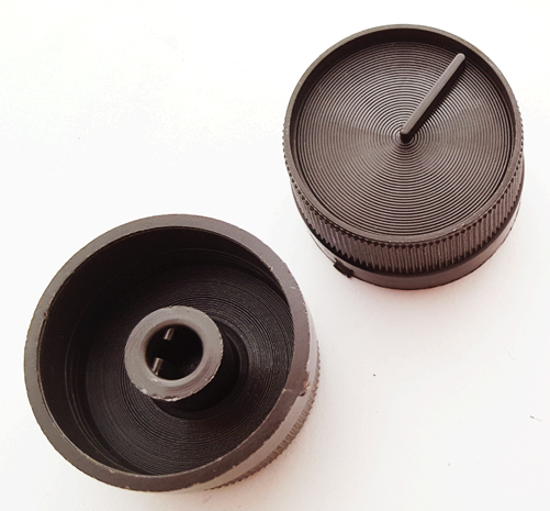 Brown Ribbed Push On Instrument Volume Indicator Knob