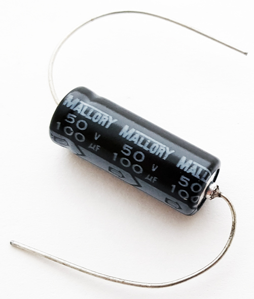 100uF 50V Axial Electrolytic Capacitor Mallory TKA101M050ST