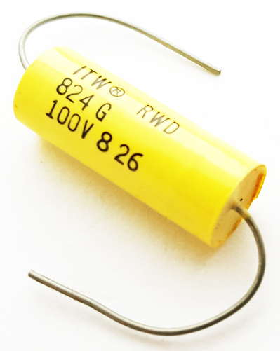 0.82uF .82 uF 100V 2% Axial Polyester Film Capacitor Vintage  ITW 824G100