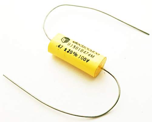 0.47uF 100V 20% Axial Polypropylene Capacitor Electrocube 935B1B474M