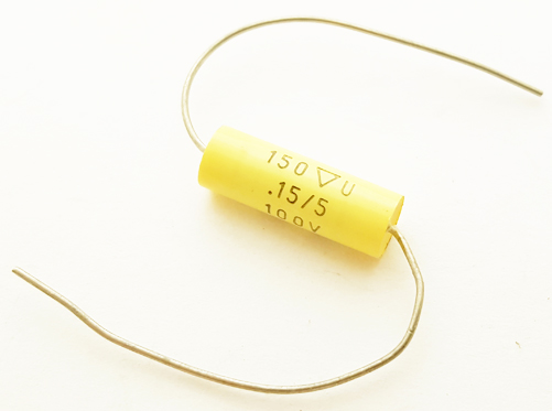 0.15uF .15 uF 100V 5% Axial Polyester Film Capacitor Vintage 154J100