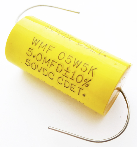 5.0uF 5 uF 50V 10% Axial Polyester Film Capacitor CDE WMF05W5K