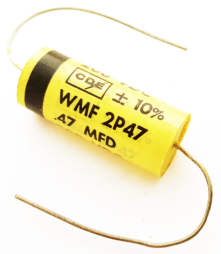 0.47uF 200V 10% Axial Polyester Film Capacitor Vintage CDE WMF2P47K