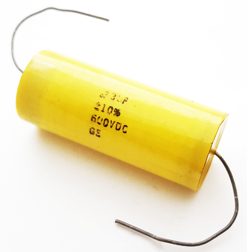 0.33uF 600V 10% Axial Polyester Film Capacitor Vintage GE 334K600