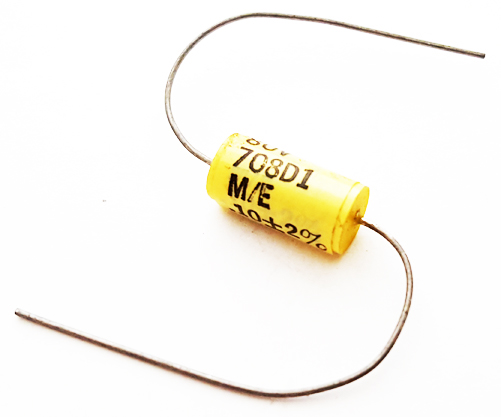 0.1uF 80V 2% Axial Polyester Film Capacitor Vintage Mepco 708D1 Series