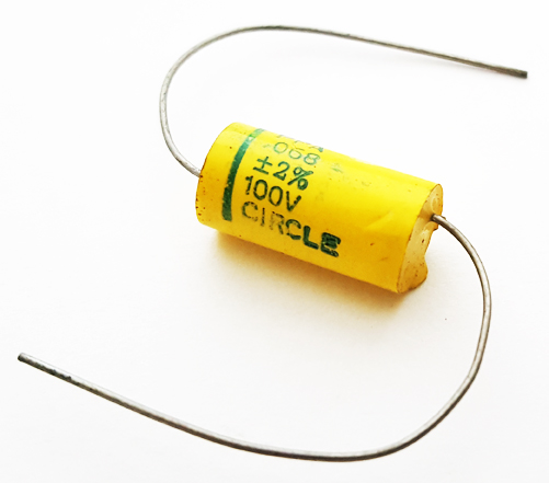 0.068uF 100V 2% Axial Polyester Film Capacitor Vintage Circle