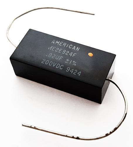 0.82uF 200V 1% Axial Polyester Film Capacitor Vintage American Radio HE2E824F
