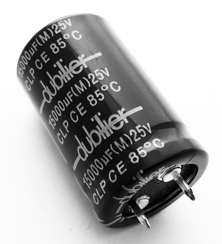15000uF 25V 20% Radial Snap In Electrolytic Capacitor Dubilier CLP15000BE25