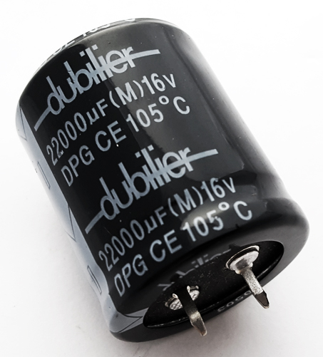 22000uF 16V 20% Radial Snap In Electrolytic Capacitor Dubilier DPG22000CD16