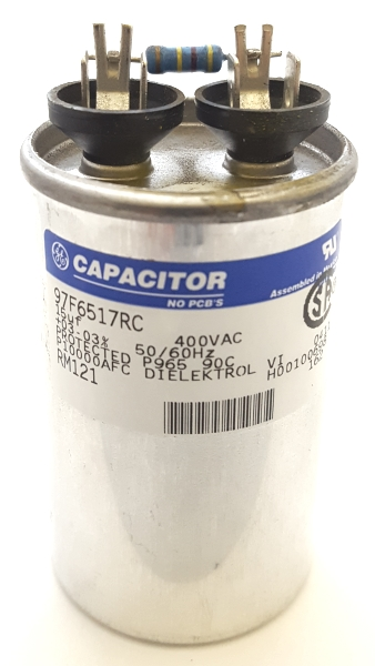 15.0uF 400VAC Motor / HID Lighting Capacitor with Resistor GE/Genteq 97F6517RC