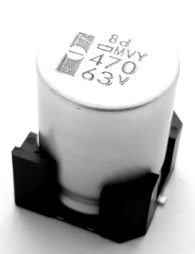 470uF 63V SMT Electrolytic Capacitor Nippon Chemi-Con EMVY630GDA471MLNOS