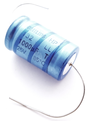 1000uF 25V Axial Electrolytic Capacitor Long Life 2222-132-16102 Philips
