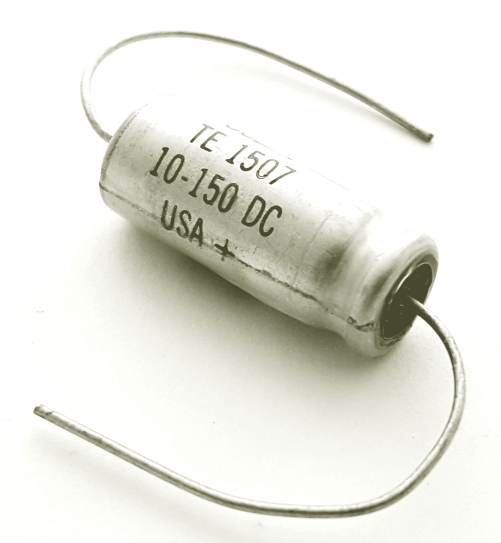 10uF 150V Axial Electrolytic Capacitor Vintage Sprague TE1507