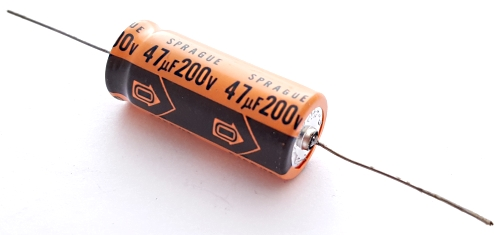 47uF 200V Axial Aluminum Electrolytic Capacitor Sprague 516D476M200PS6AE3