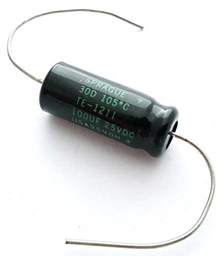 100uF 25V Axial Electrolytic Capacitor Sprague TE1211