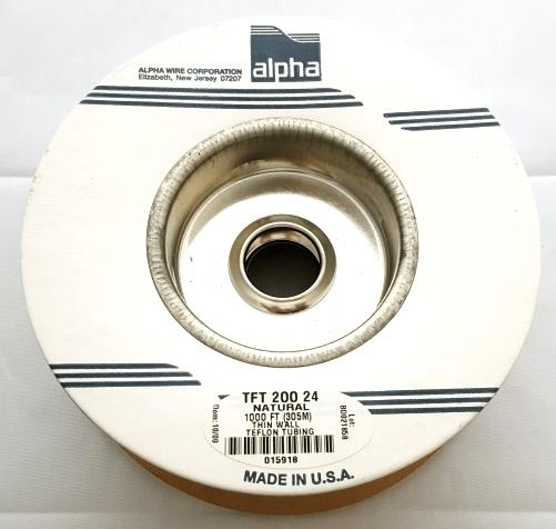 24 AWG PTFE Plastic Tubing 1000 Foot Roll TFT-200-24 Alpha