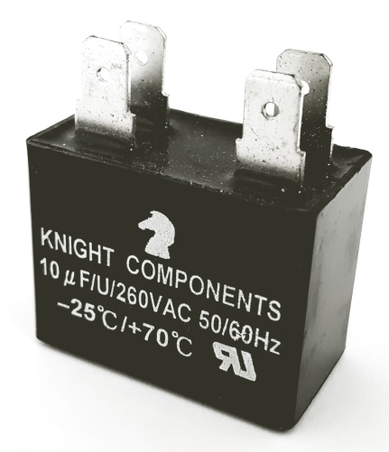 10uF 260VAC Motor Run Capacitor Polyester Film Knight Components 106J260V