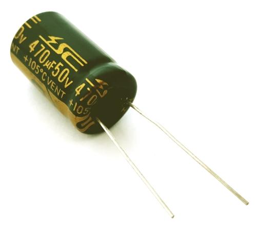 470uF 50V Radial Electrolytic Capacitor Jameco Valuepro UHE1H471MPD
