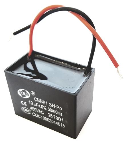 10uF 450VAC (250VAC, 370VAC) Motor Run Capacitor  Senju CBB661-SH-P0