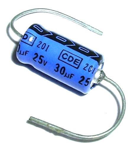 30uF 25V NOS Mini Computer Grade Axial Electrolytic Capacitor CDE NLW30-25