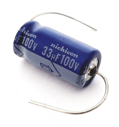 33uF 33 uF 100V Axial Electrolytic Capacitors Nichicon TVX2A330MAA1LS