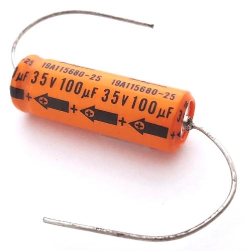 100uF 100 uF 35V Vintage Axial Electrolytic Capacitor Rubycon 19A115680-25