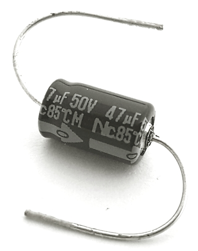 47uF 50V Mini Axial Electrolytic Capacitor NIC Components® NSA Type