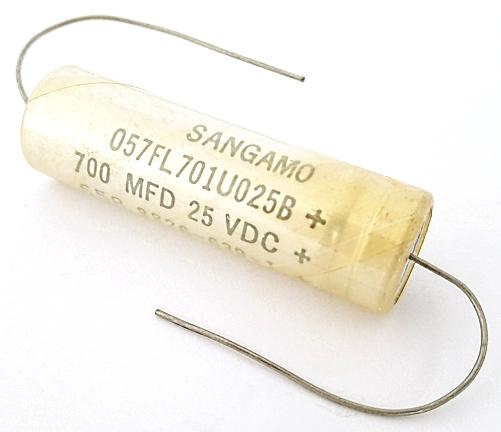 700uF 25V Axial Electrolytic Capacitor Sangamo 057FL701U025B