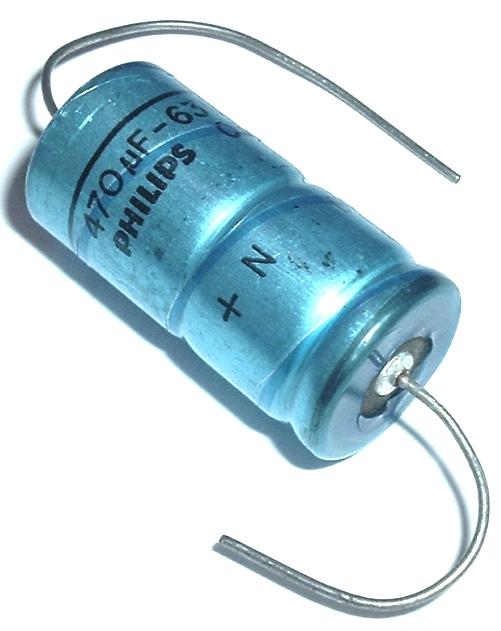 63V Philips 032 Series Axial audio Condenser NOS, 2 electrolytic capacitors 470uF