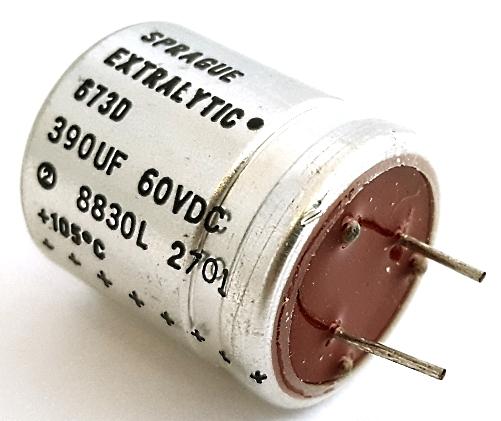 390uF 390 UF 60V Radial Electrolytic Capacitor Sprague 673D397H060
