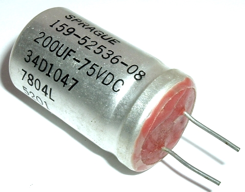 200uF 200 UF 75V Radial Electrolytic Capacitor Vintage Sprague 34D1047