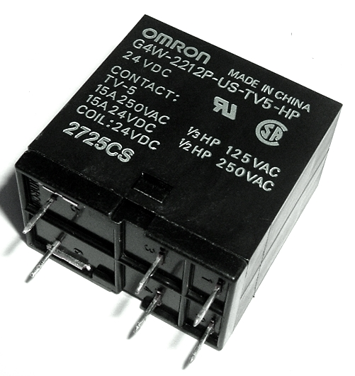 15A 24V PCB Mount High Power Relay DPST Omron­® G4W-2212P-US-TV5-HP-DC24