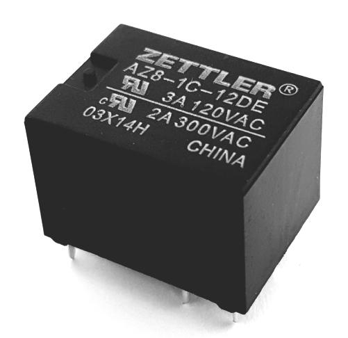 3A 12V Miniature PCB Relay SPDT American Zettler® AZ8-1C-12DE