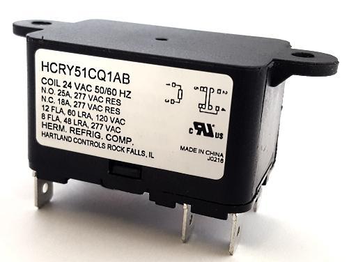 18A 24VAC SPDT HVAC Fan Relay Hartland Controls® HCRY51CQ1AB 90370