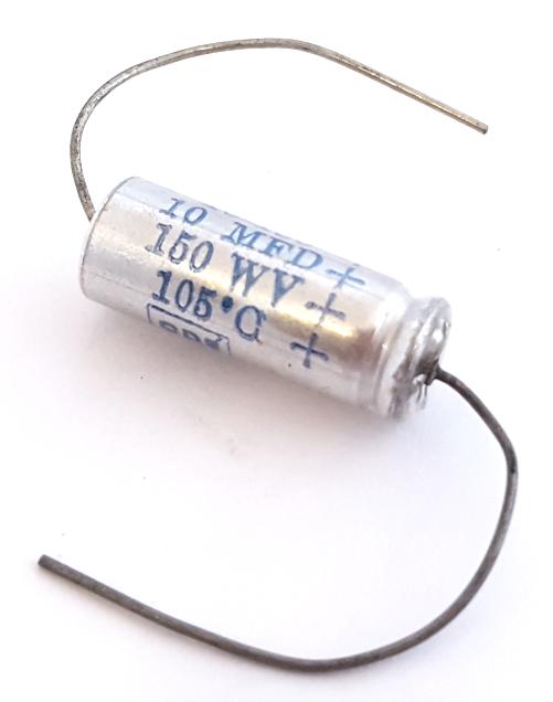 10uF 150V Axial Electrolytic Computer Grade Capacitor CDE® NLW10-150