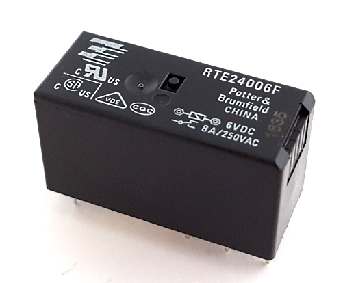 8A 6V PCB Power Relay DPDT Potter & Brumfield® RTE24006F