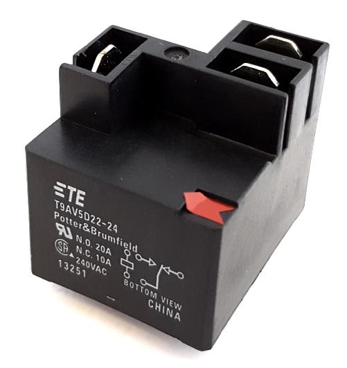 20A 24V PCB Mount Power Relay SPDT Potter Brumfield® T9AV5D22-24